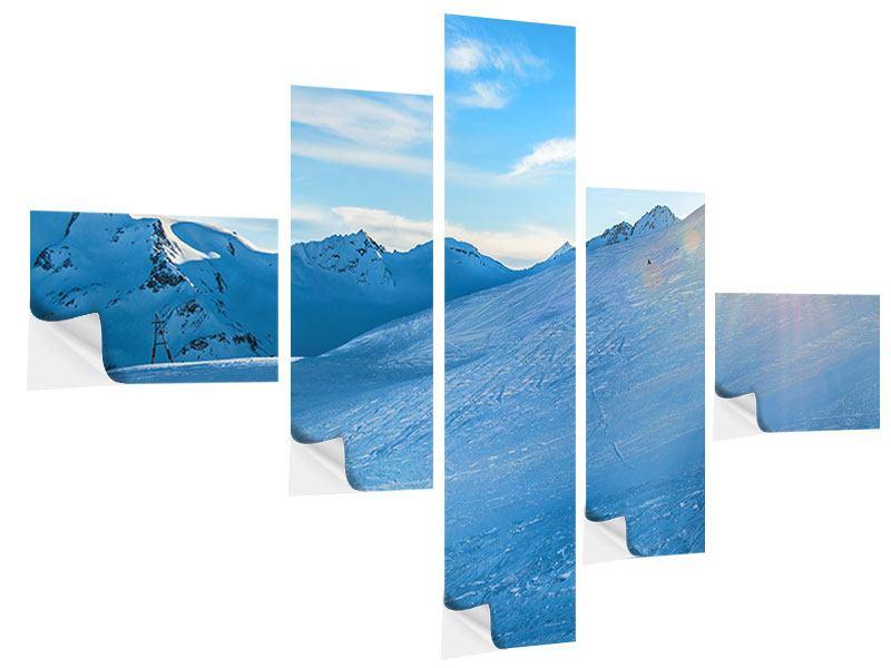 Klebeposter 5-teilig modern Sonnenaufgang in den Bergen