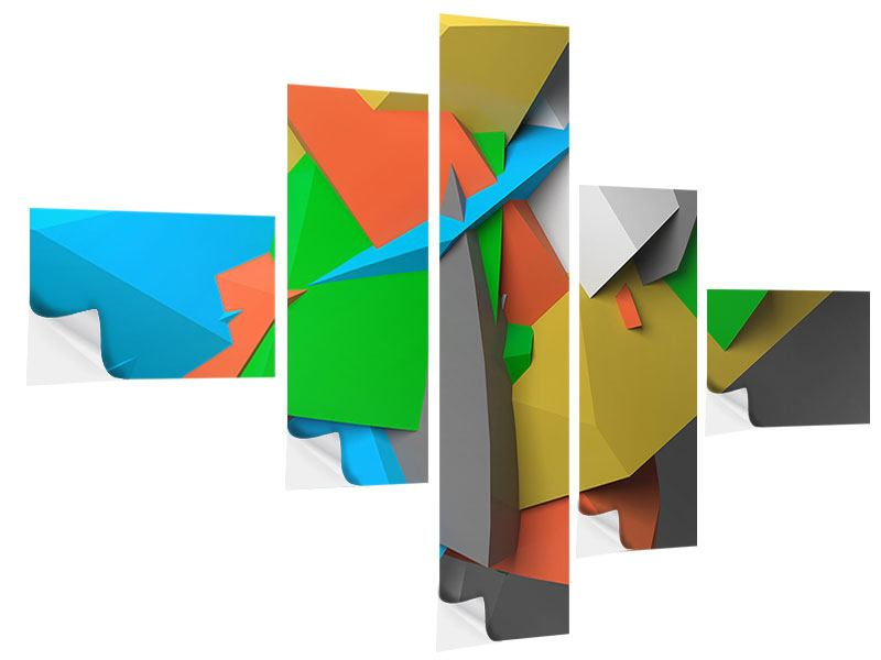 Klebeposter 5-teilig modern 3D-Geometrische Figuren