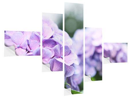 Klebeposter 5-teilig modern Hortensien