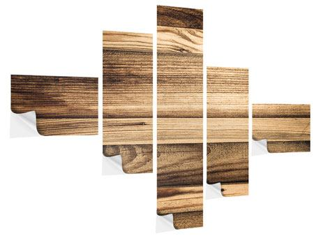 Klebeposter 5-teilig modern Holztrend