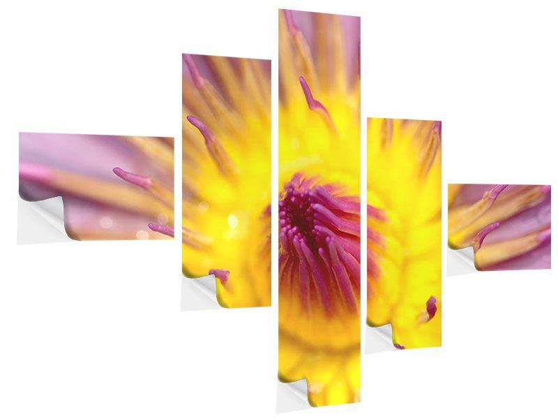 Klebeposter 5-teilig modern XXL-Lotus