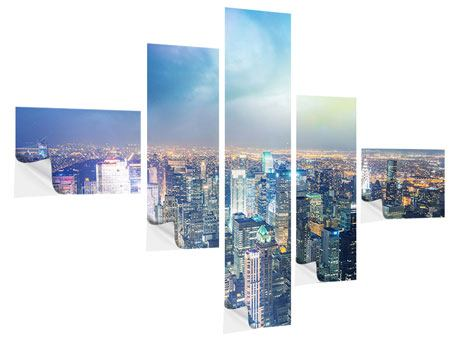 Klebeposter 5-teilig modern Skyline NY bei Sonnenuntergang
