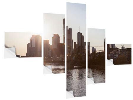 Klebeposter 5-teilig modern Skyline Sonnenaufgang bei Frankfurt am Main