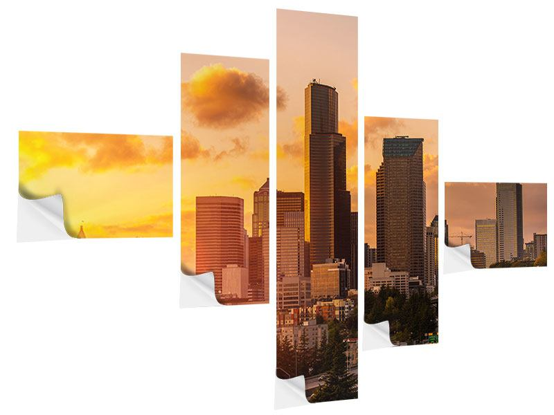 Klebeposter 5-teilig modern Skyline Washington