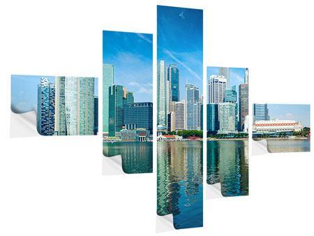 Klebeposter 5-teilig modern Skyline Mexiko-Stadt