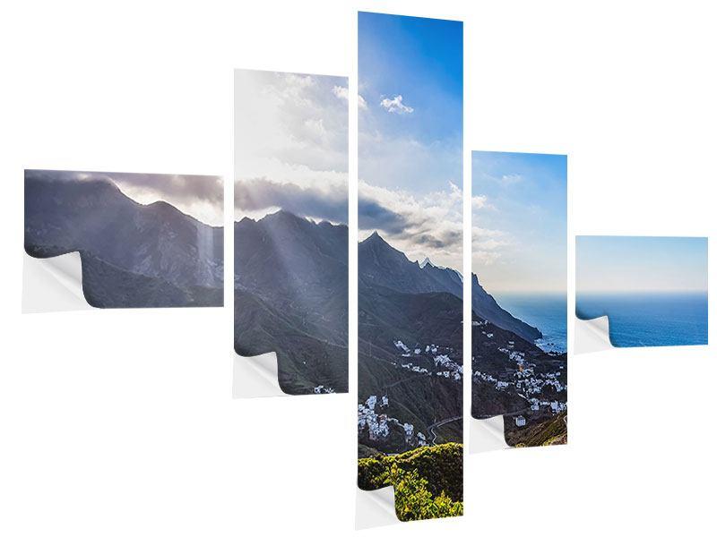 Klebeposter 5-teilig modern Der Frühling in den Bergen
