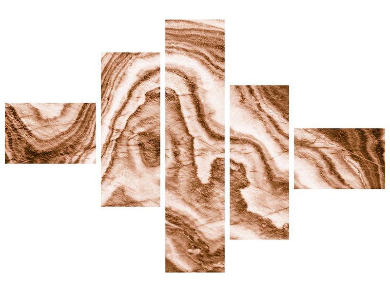 Klebeposter 5-teilig modern Marmor in Sepia