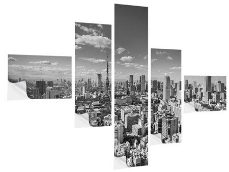 Klebeposter 5-teilig modern Tokio