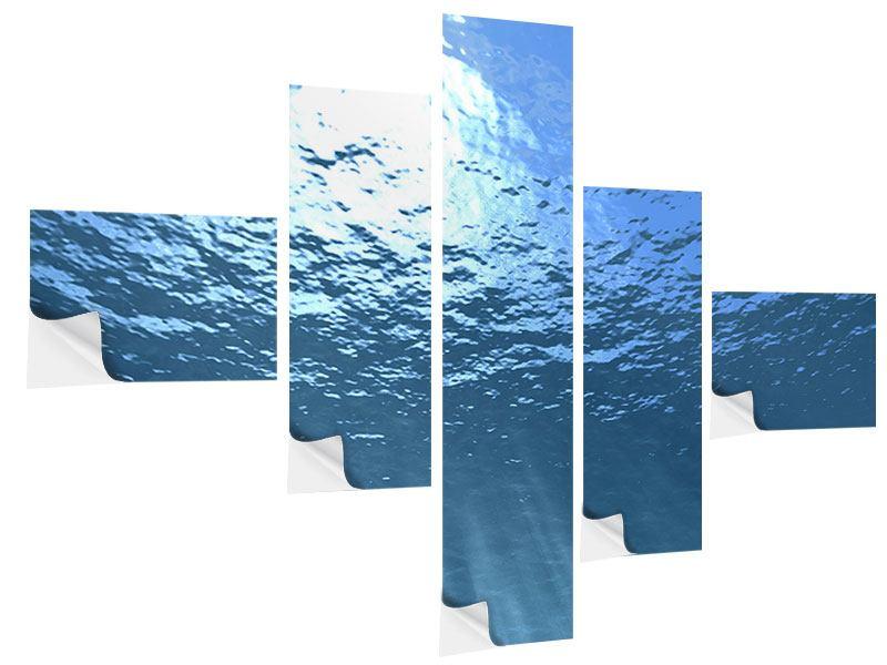 Klebeposter 5-teilig modern Sonnenstrahlen unter Wasser