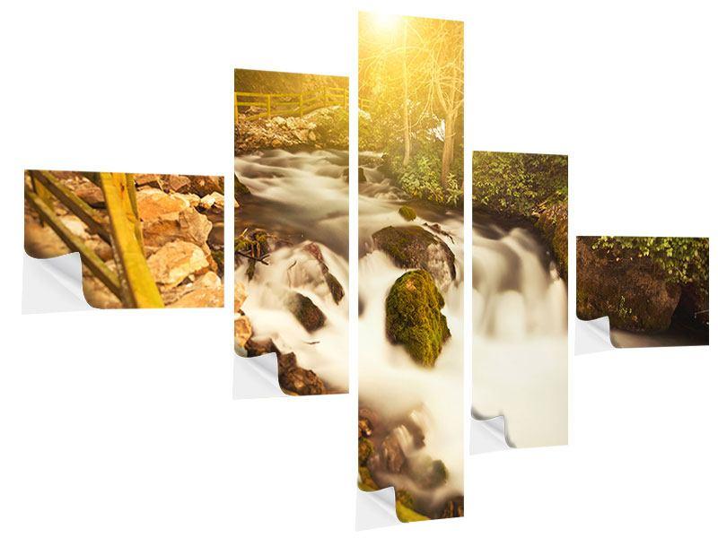 Klebeposter 5-teilig modern Sonnenuntergang am Wasserfall