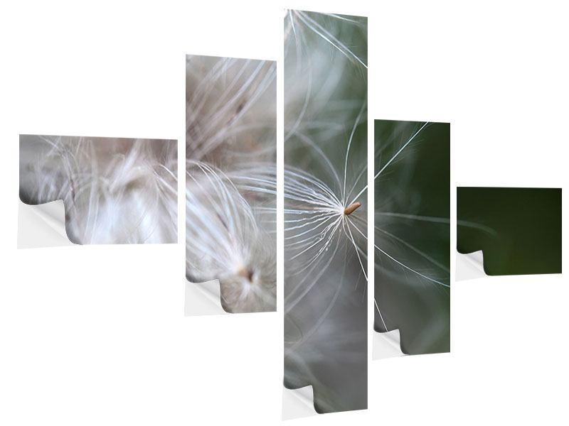 Klebeposter 5-teilig modern Close up Blütenfasern