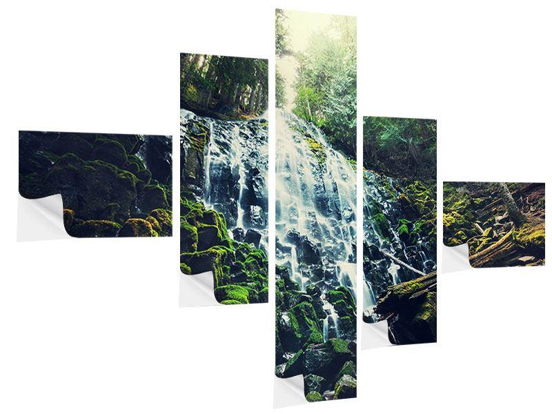 Klebeposter 5-teilig modern Feng Shui & Wasserfall