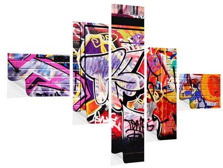Klebeposter 5-teilig modern Graffiti Kunst