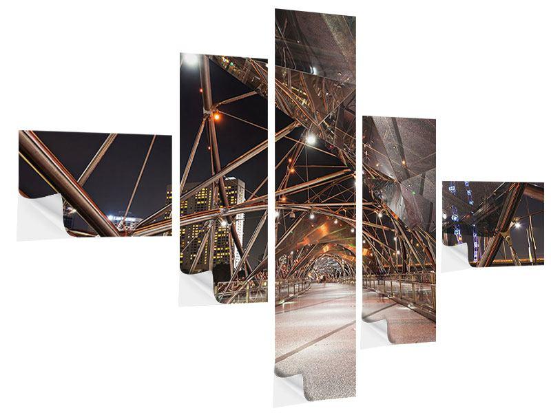 Klebeposter 5-teilig modern Brückenlichter