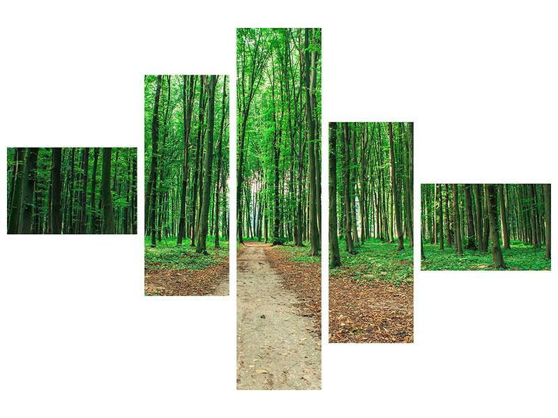 Klebeposter 5-teilig modern Tannenwald