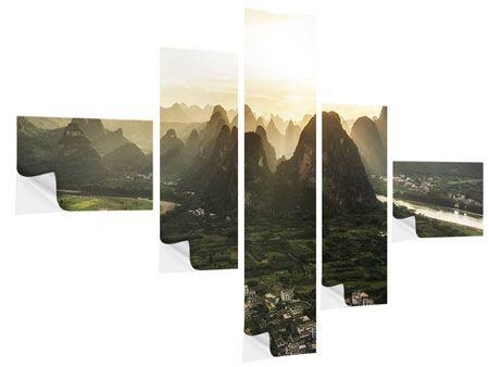 Klebeposter 5-teilig modern Die Berge von Xingping