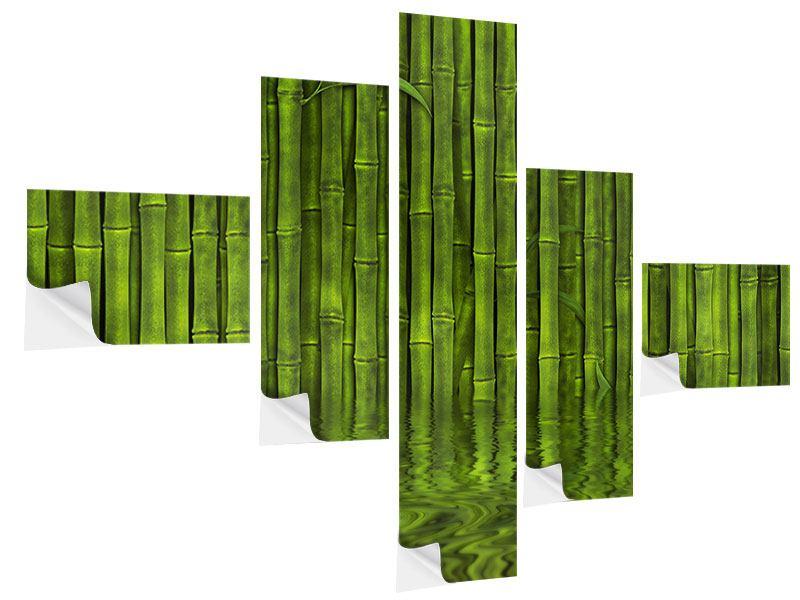 Klebeposter 5-teilig modern Wasserspiegelung Bambus