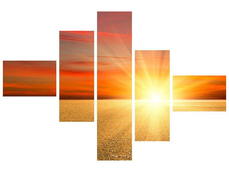 Klebeposter 5-teilig modern Der Sonnenuntergang
