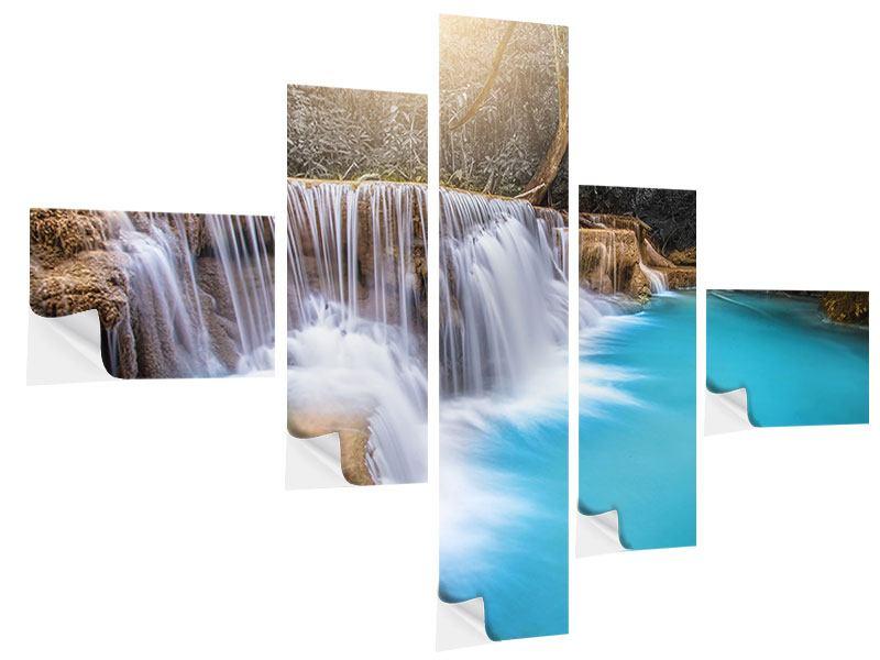 Klebeposter 5-teilig modern Glücklicher Wasserfall