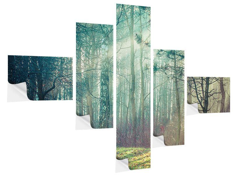 Klebeposter 5-teilig modern Pinienwald