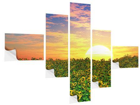 Klebeposter 5-teilig modern Blumenpanorama bei Sonnenuntergang