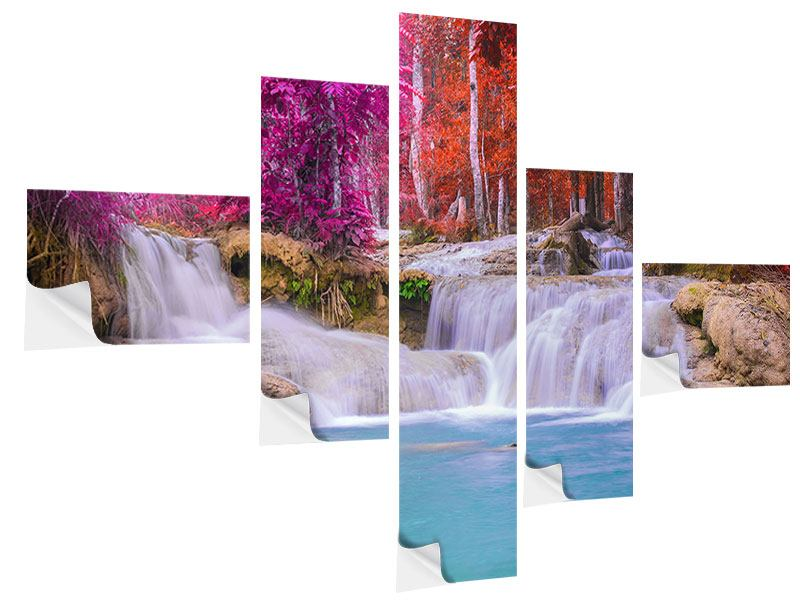 Klebeposter 5-teilig modern Paradiesischer Wasserfall