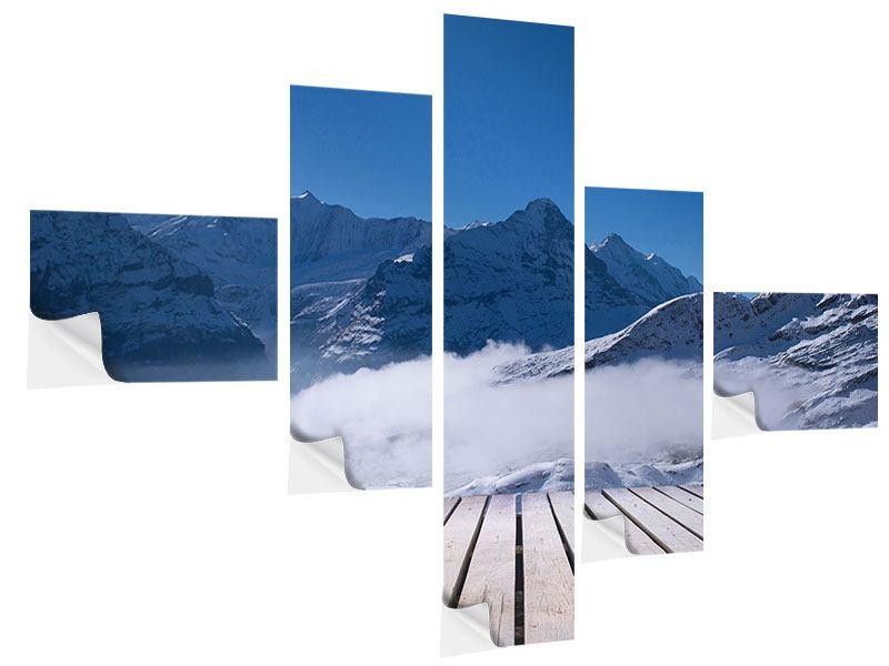 Klebeposter 5-teilig modern Sonnenterrasse in den Schweizer Alpen