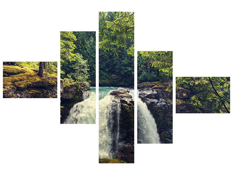Klebeposter 5-teilig modern Flussströmung