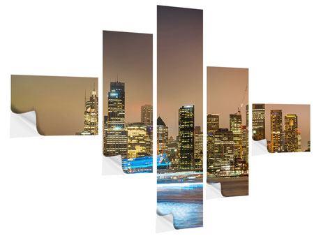 Klebeposter 5-teilig modern Skyline Sydney im Lichtermeer