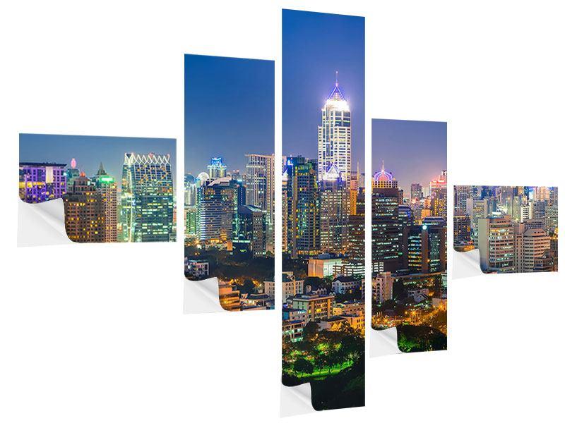 Klebeposter 5-teilig modern Skyline One Night in Bangkok
