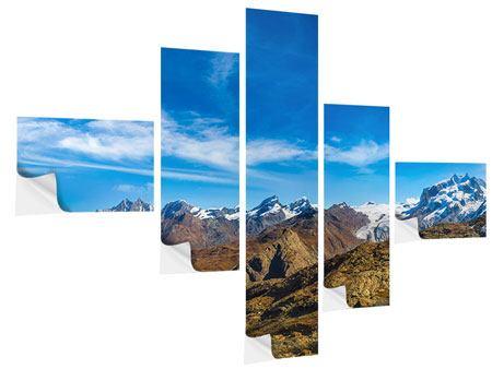 Klebeposter 5-teilig modern Schweizer Alpen im Frühling