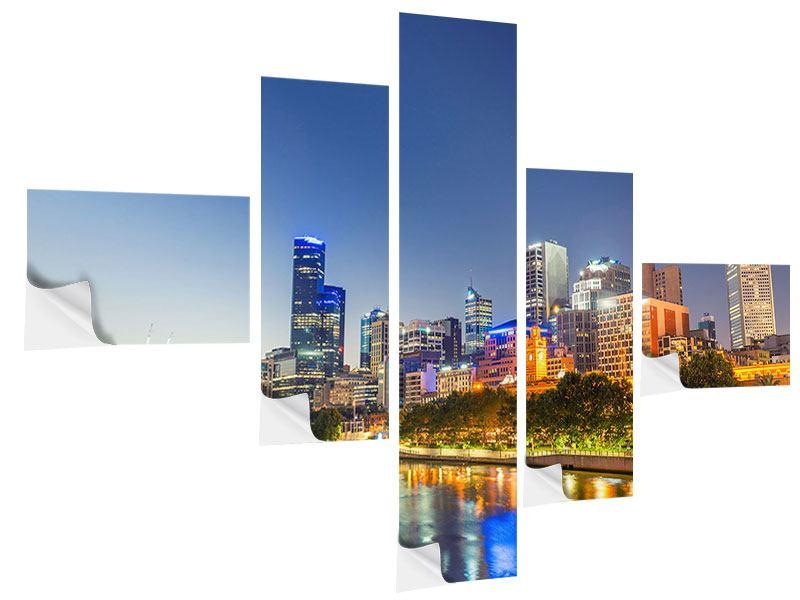 Klebeposter 5-teilig modern Skyline Sydney in der Abenddämmerung