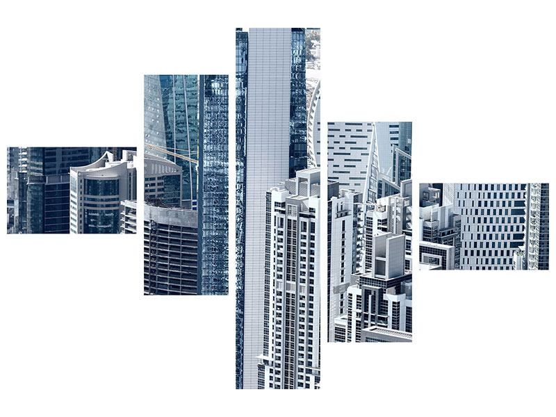 Klebeposter 5-teilig modern Die Wolkenkratzer von Dubai