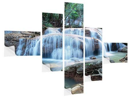 Klebeposter 5-teilig modern Ein Wasserfall