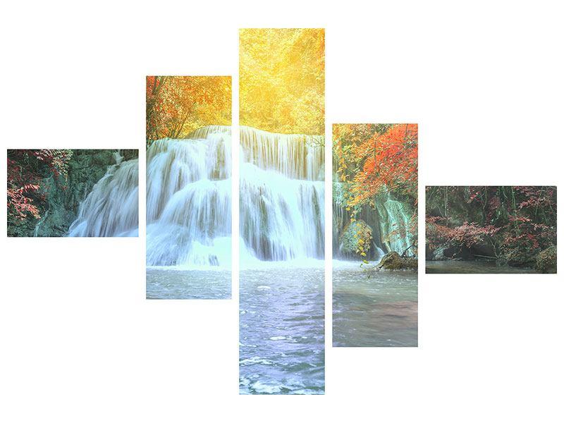 Klebeposter 5-teilig modern Wasserfall im Licht