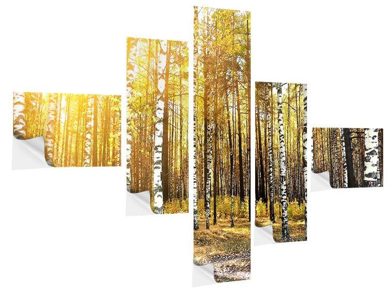 Klebeposter 5-teilig modern Birkenwald