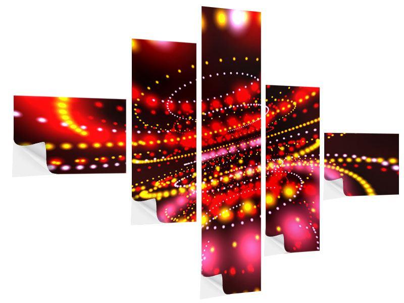 Klebeposter 5-teilig modern Abstraktes Lichtspiel