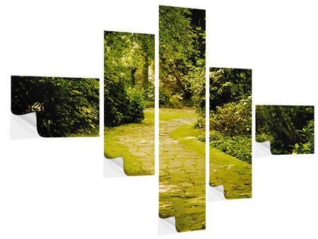 Modern 5 Piece Self-Adhesive Poster Moss-Covered Path