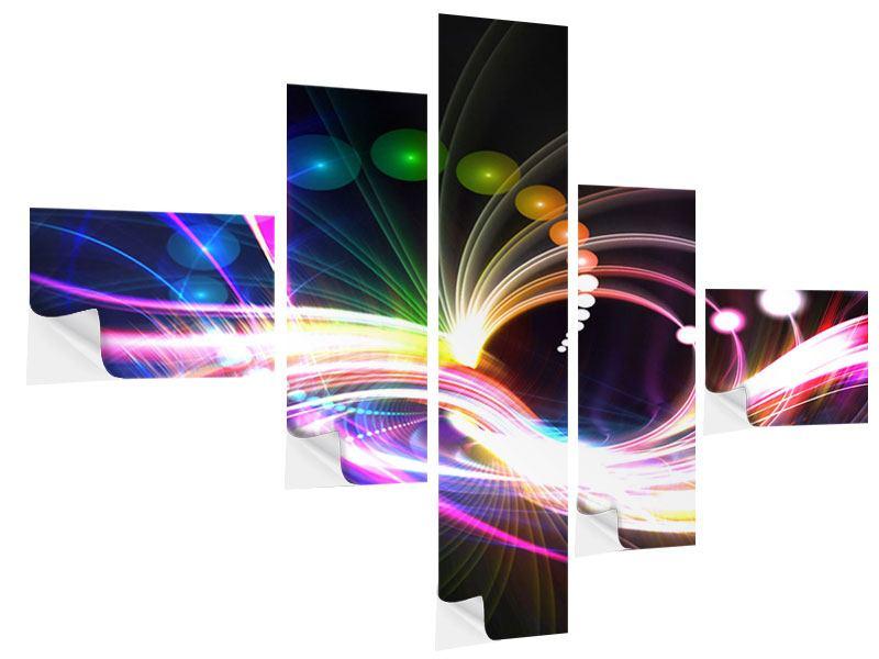 Klebeposter 5-teilig modern Abstrakte Lichtreflexe