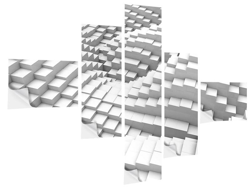 Klebeposter 5-teilig modern 3D-Elemente