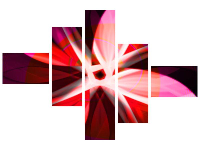 Klebeposter 5-teilig modern Abstrakt Flower Power