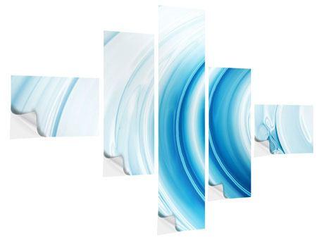 Klebeposter 5-teilig modern Abstraktes Glas