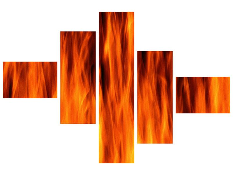 Klebeposter 5-teilig modern Feuer Close Up