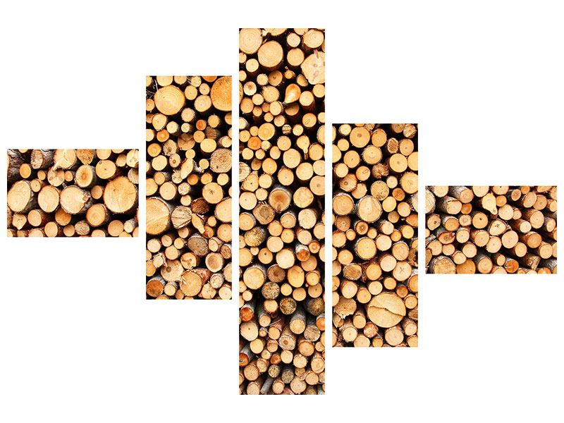 Klebeposter 5-teilig modern Holzstämme