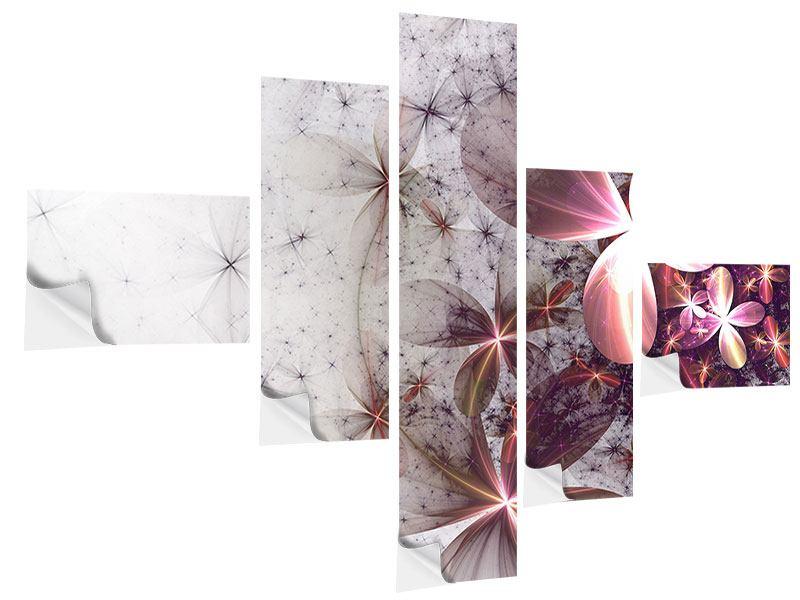 Klebeposter 5-teilig modern Abstrakte Blumen