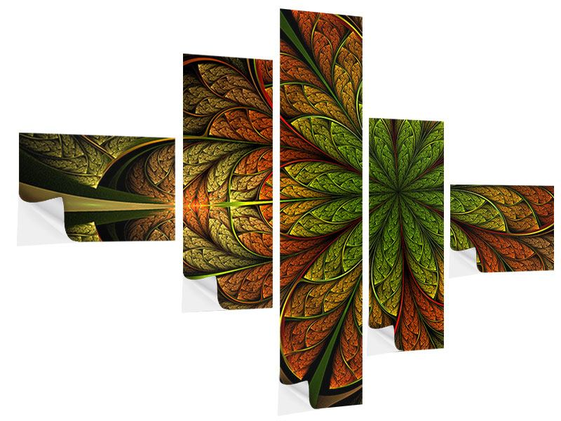 Klebeposter 5-teilig modern Abstraktes Blumenmuster
