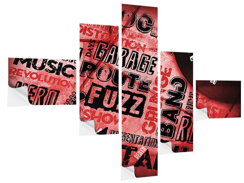 Klebeposter 5-teilig modern Writings Music Grunge
