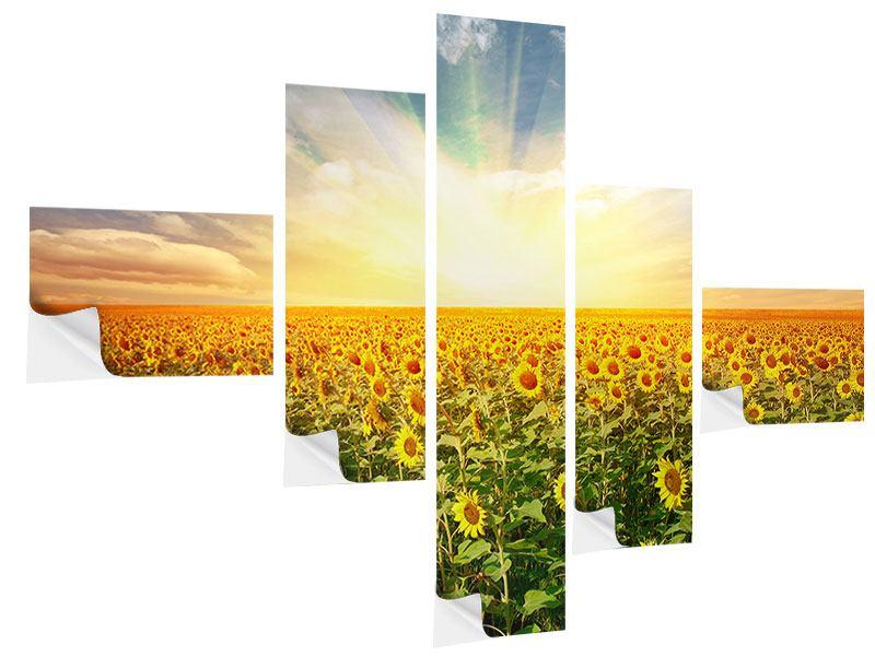 Klebeposter 5-teilig modern Ein Feld voller Sonnenblumen