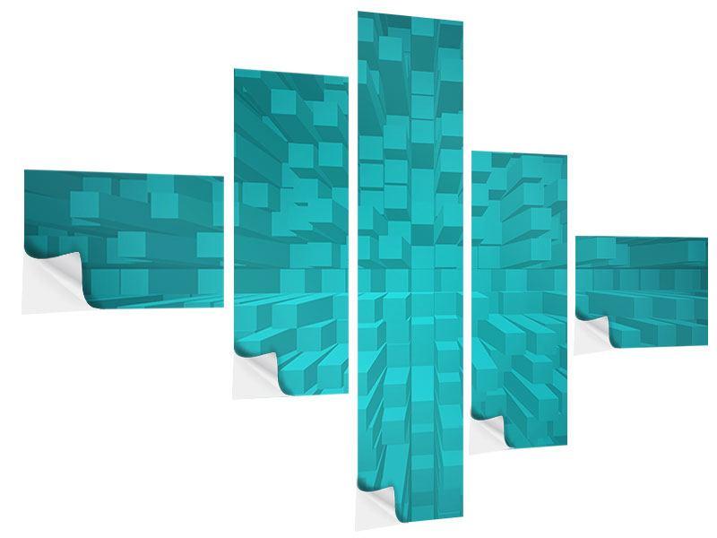 Klebeposter 5-teilig modern 3D-Kubusse