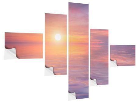 Klebeposter 5-teilig modern Sonnenuntergang auf See